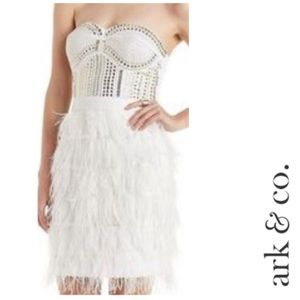 ARK & CO White Ostrich Feathers Studded Dress, M